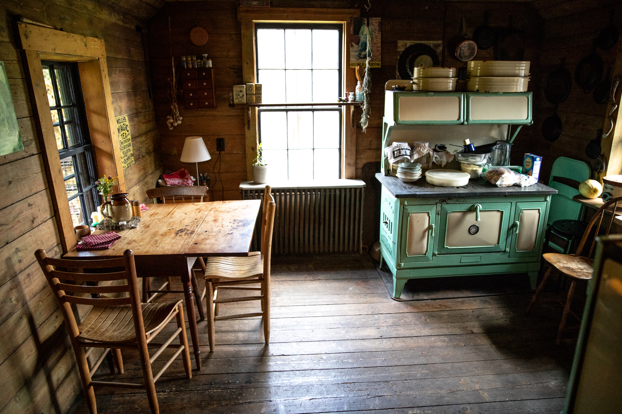 Gretchen and Ian's rustic Vermont kitchen. Their house was built in the 1700's and sits on 10 acres.