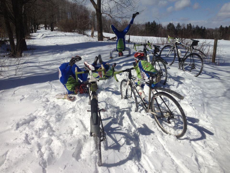 The team enjoying a winter ride.