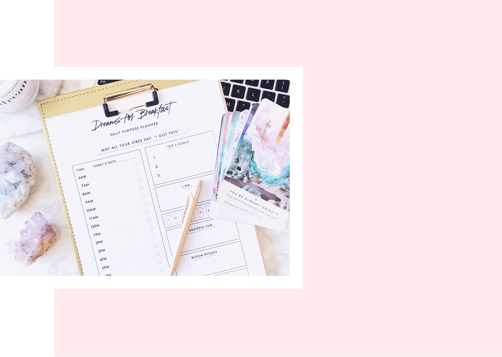 Ready to rock your biggest goals? - The Dreams for Breakfast Daily Purpose Planner has been designed for you to plan your day with intention; rock your biggest goals, and carve out space for nourishing your mind and soul, so you can align your mindset with the future direction of your life.