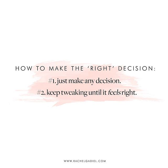 Which big decision is keeping you stuck? What if you committed to picking a path and took action, knowing that you could keep tweaking until it feels right for you? 🖤