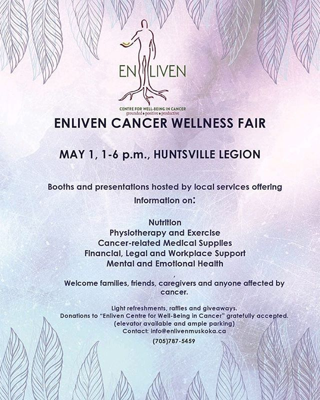 Cancer affects 1 in 2 of us. Enliven is a centre for well-being in cancer and knows just how much cancer has affected our community. Please share this event widely and attend to learn more, enjoy raffles, refreshments and giveaways!  Barriers to attending? Let us help!⠀ ⠀ #Enliven #HuntsvilleON