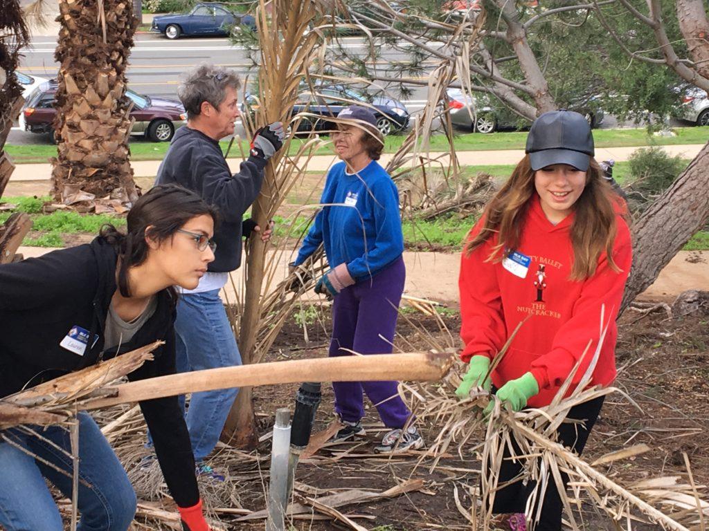 Active volunteers work to clean up plant trimmings.