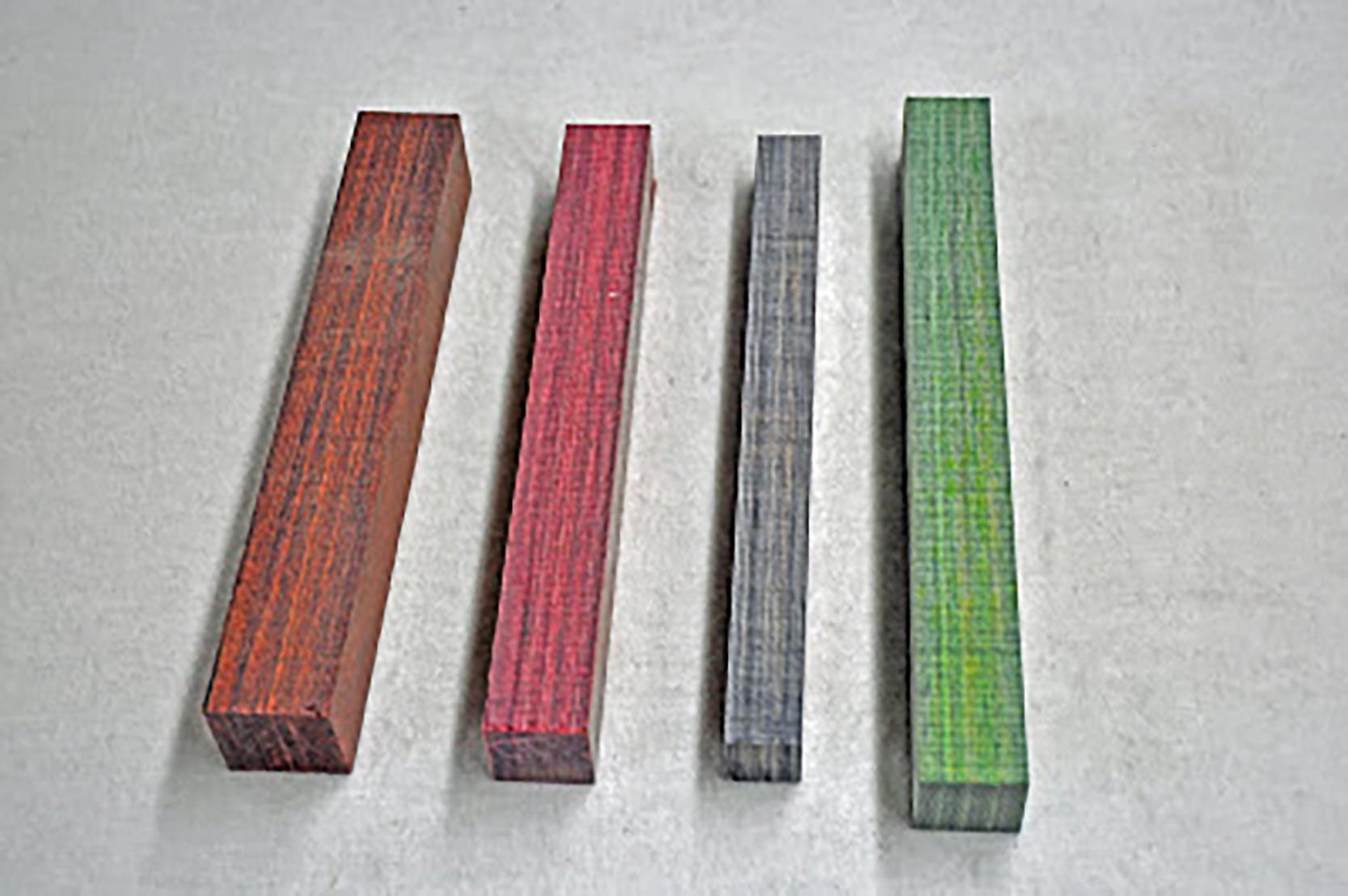 Cocobolo Dymondwood, Red Dymondwood, Black Dymondwood, Green Dymondwood