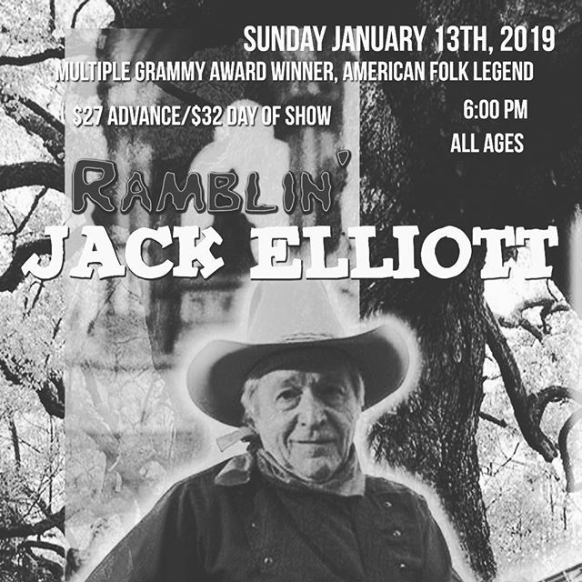 Very excited to be opening the show tomorrow for Ramblin' Jack Elliott!  Solo show starting at 7pm!