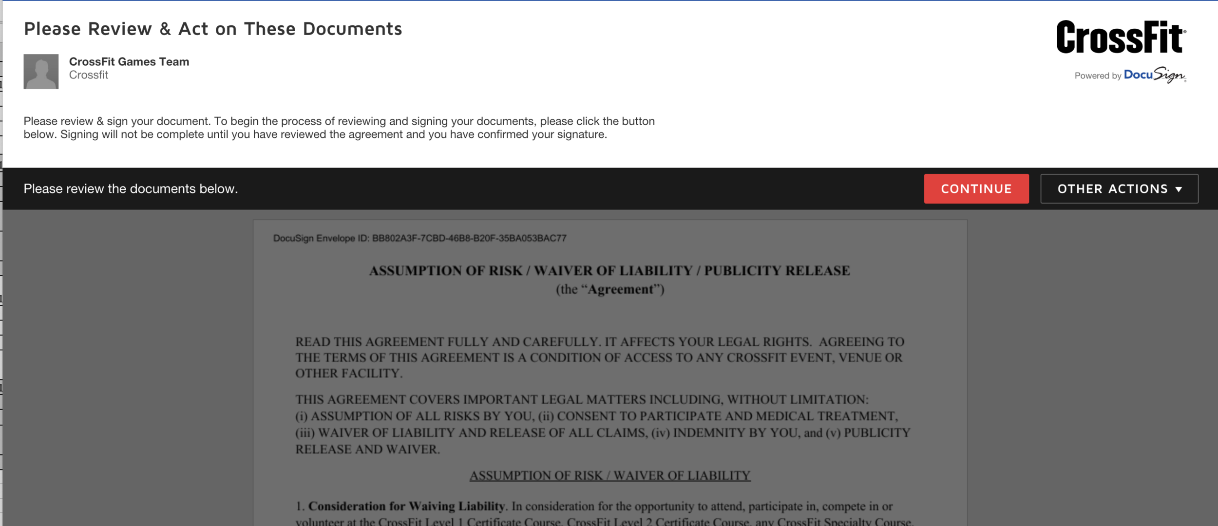 STEP THREE - Agree to the terms and conditions of CrossFit HQ.