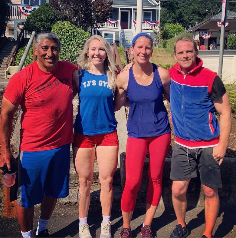 July 4th in Corte Madera - Holiday workouts are always a treat, and this year, some of CM's finest, including Coach Annie, wore just the right workout attire.