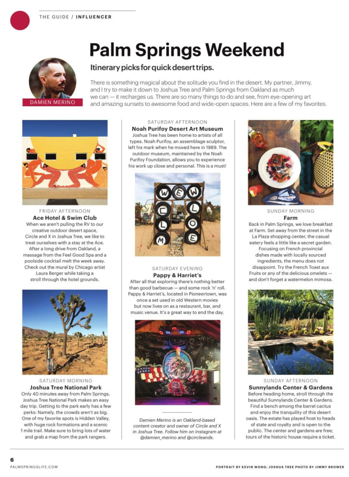 PALM SPRINGS LIFE MAGAZINE - ITINERARY PICKS FOR QUICK DESERT TRIPS