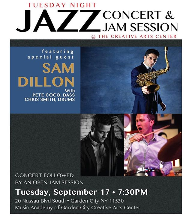 """Looking forward to playing with two of my favorite musicians tomorrow and bringing """"the jazz"""" to Long Island. Concert followed by jam session so bring your horn! #jazz #longisland #gardencityny #magc"""