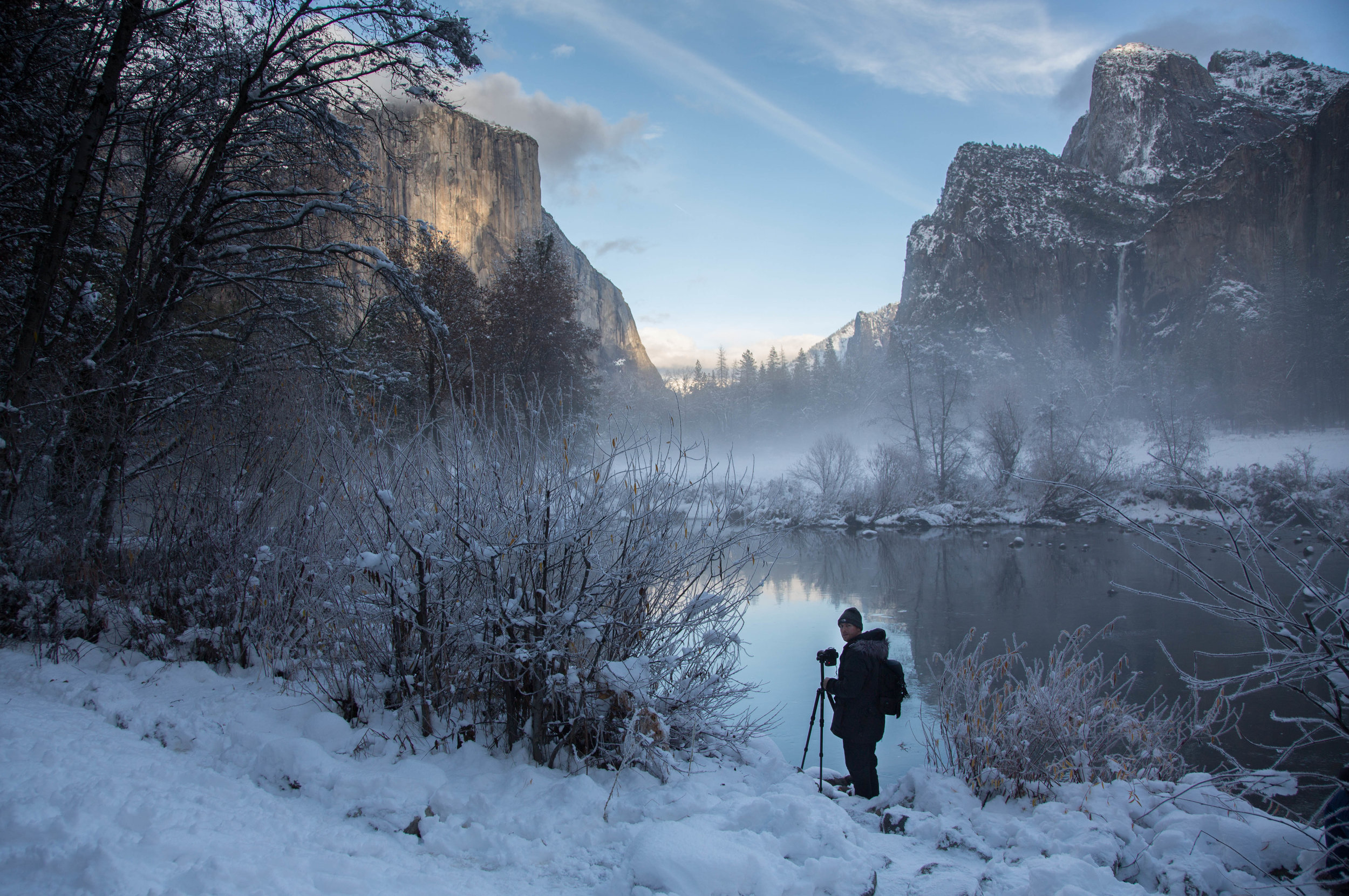 First Snow Fall at Yosemite National Park - December 2018. Photo taken by my wife, Adriana Krause.