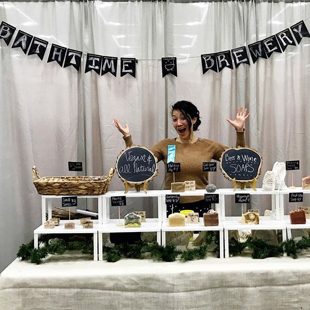 We are here until 6 at the Crafty Wonderland Holiday Market! Come find us and get your fave soap before it's gone - some are already sold out! 😱