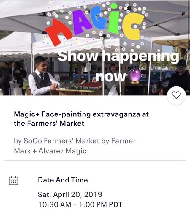 Will be working with @showtimeeventsocla this Saturday to bring you some magic and face painting fun at @farmermarksoco Come on out and enjoy some free family friendly entertainment! #magic #show #magician #magicshow #free #facepainting #farmersmarket #fun