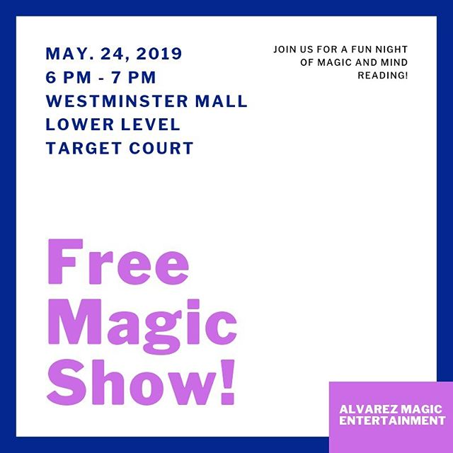 Back at @shopwestminster tomorrow night to perform another magic show with @juliandevero Come on out! It's free!