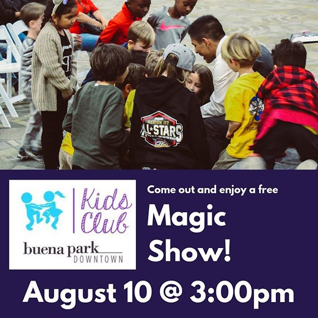 I'll be joining the #kidsclub at @buenaparkdwtn tomorrow for a free magic show! 🎩 The event is from 2-4 and will feature other fun activities! I'll be performing at about 3:00pm. We will be located in the center of the Buena Park Mall! 😄 . . . . . Tag someone who would love to see a magic show! 😄 #magician #magicshow #kidsclub #kidactivities #familyfun #buenaparkmall #eventplanner #freeevent #childrensentertainment #kids #fun #magic #anaheim
