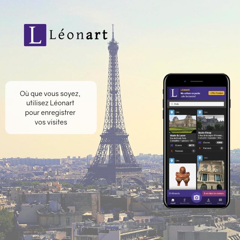 Léonart partout ailleurs - Qu'importe le lieu que vous visitez, Léonart vous accompagne :Cherchez le lieu dans l'application,Débutez une une visite,Photographiez et ajoutez une description,Sauvegardez votre visite.