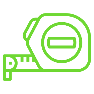 Green-coloured icon of a measuring tape