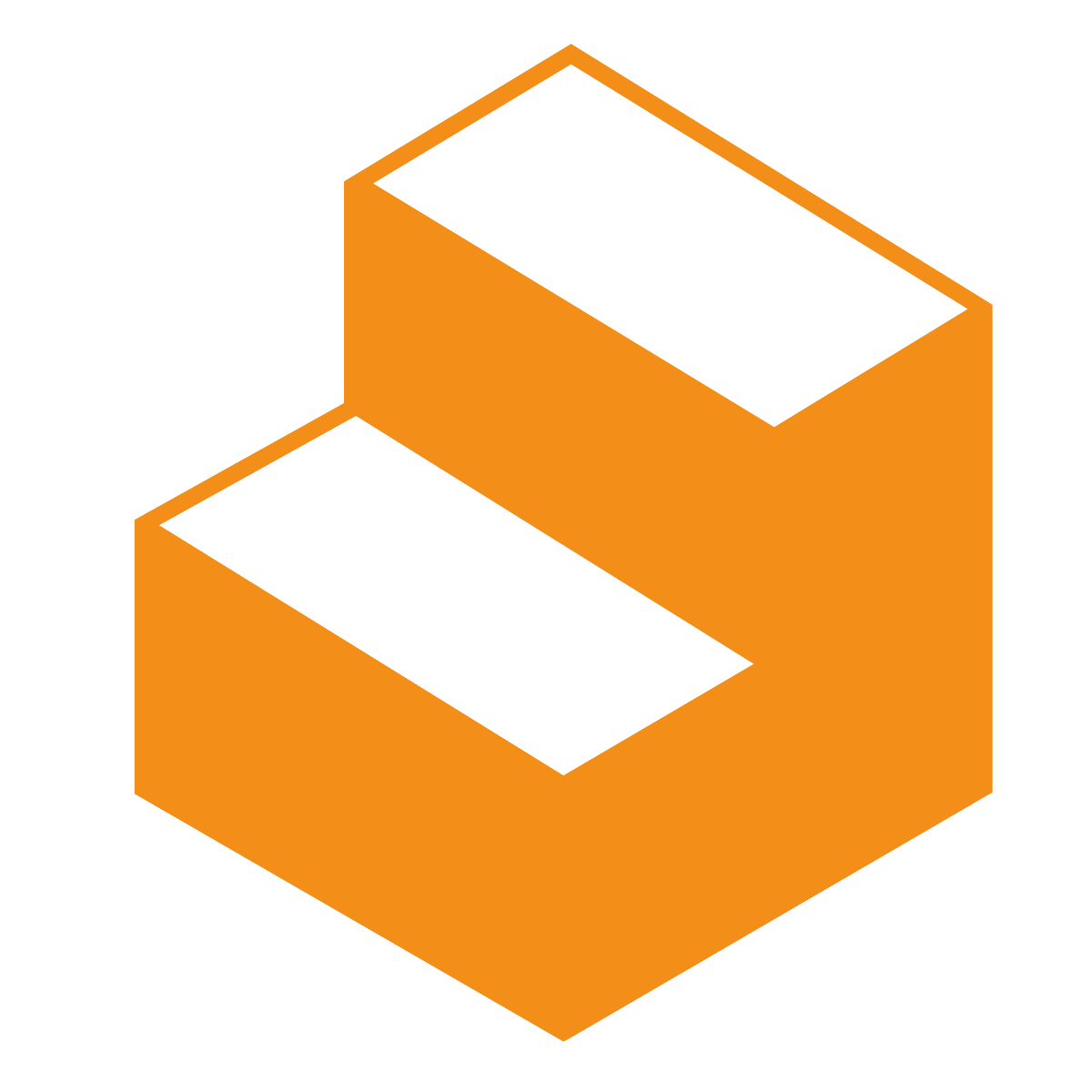 Orange-coloured icon of two steps