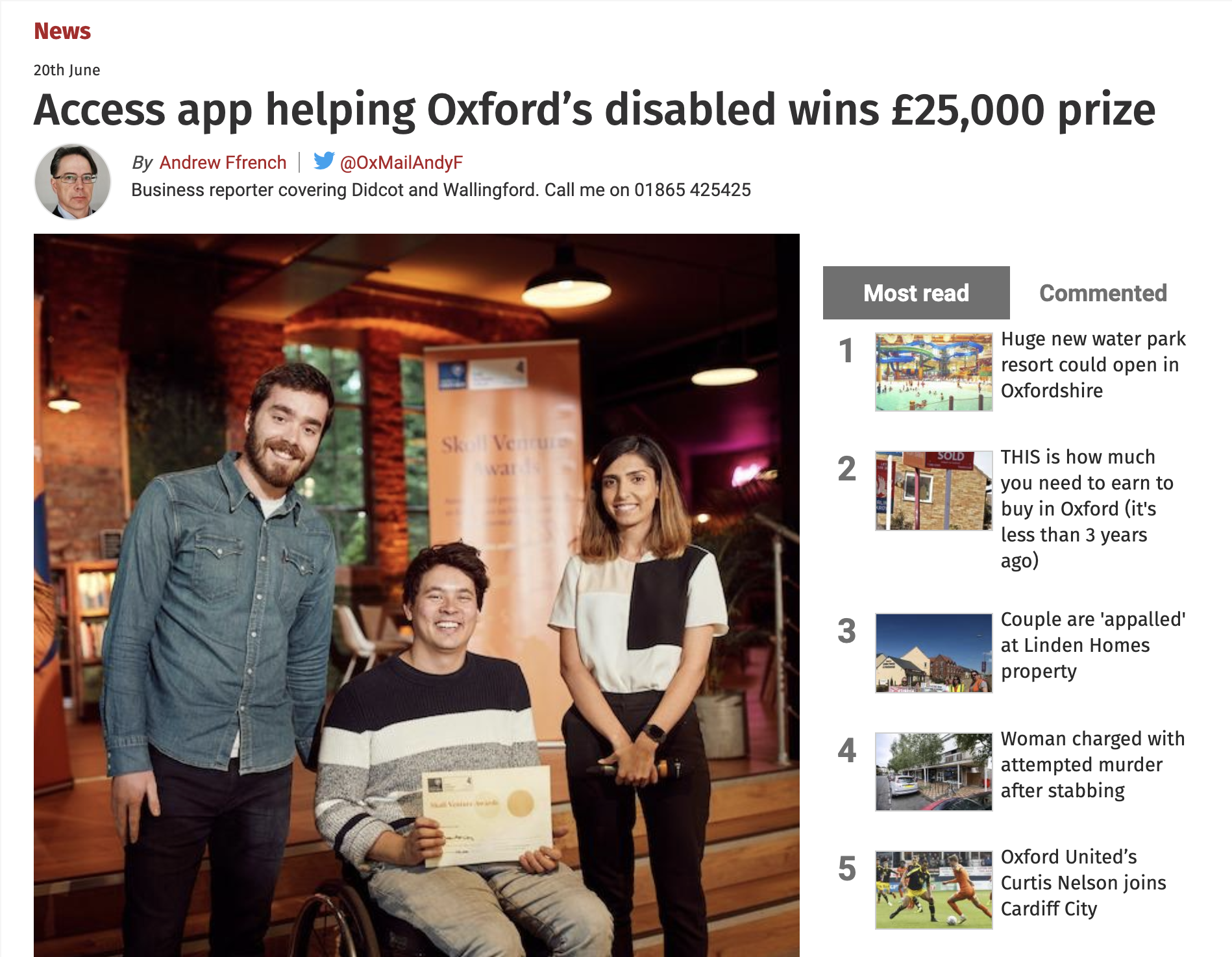 Thumbnail of Oxford Mail article, 20 June 2019.
