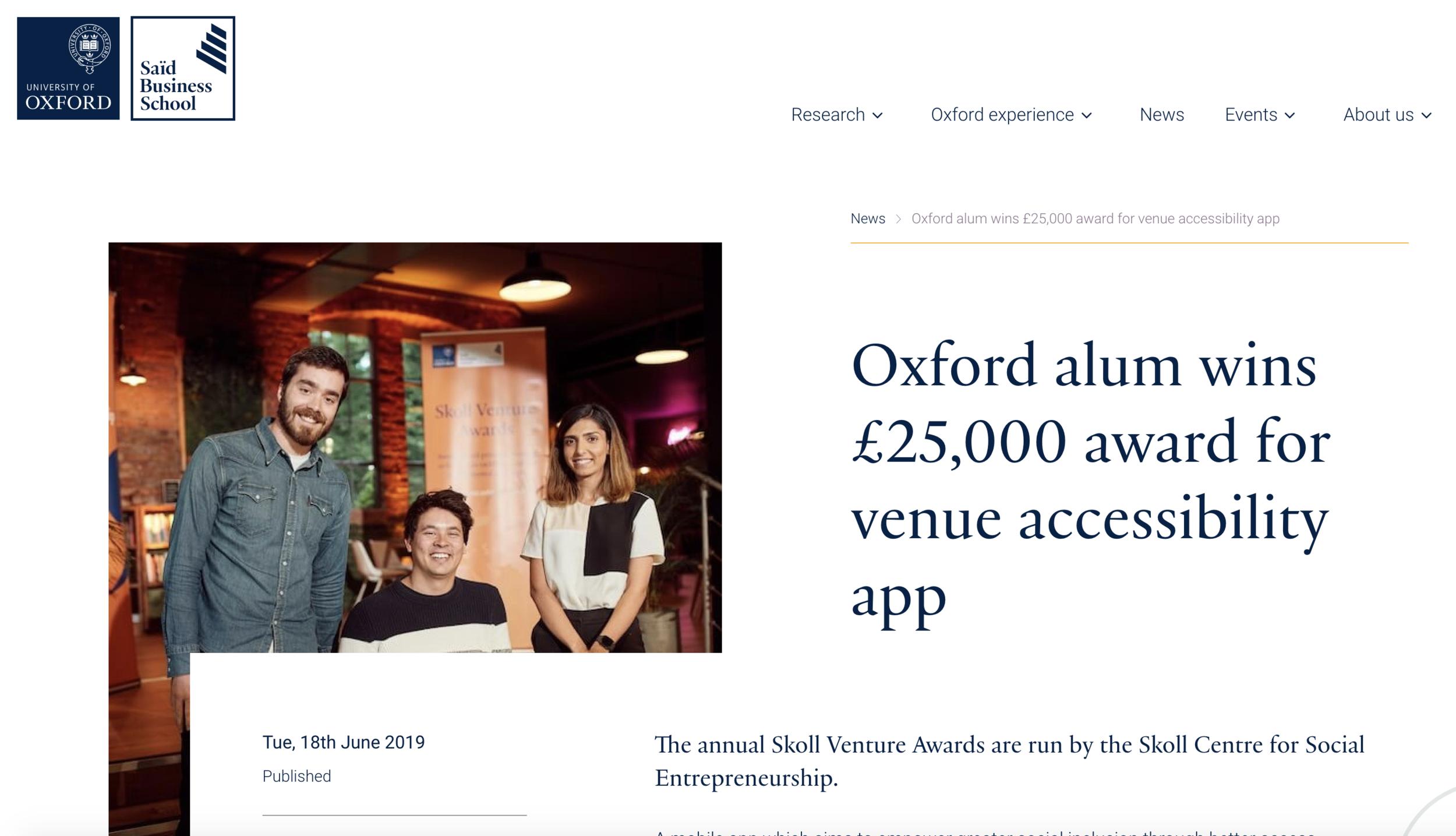 Screenshoot of website with news article about SociAbility winning the 2019 Skoll Venture Award.