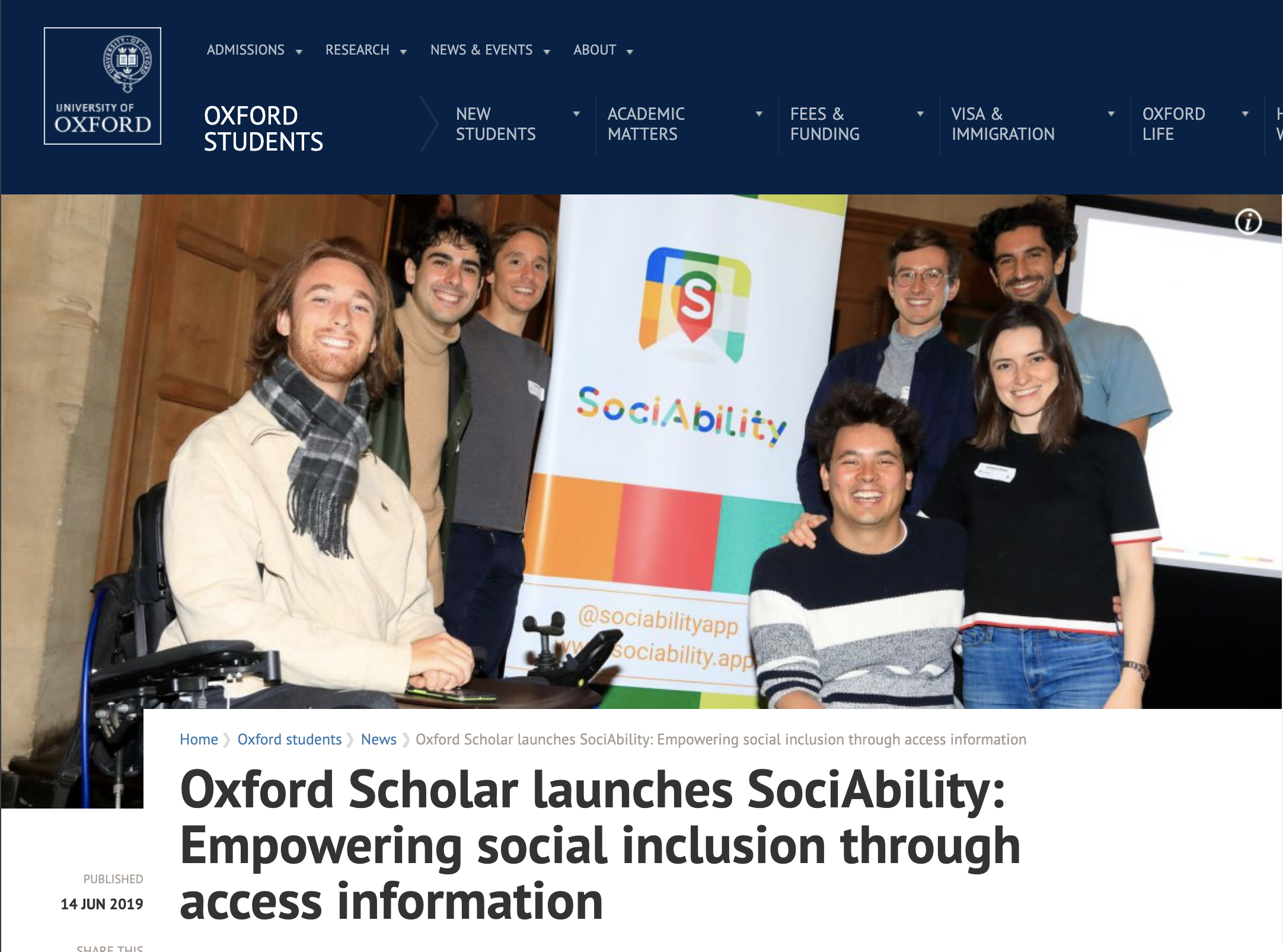 Screenshot of University of Oxford news story about SociAbility launch in June 2019.