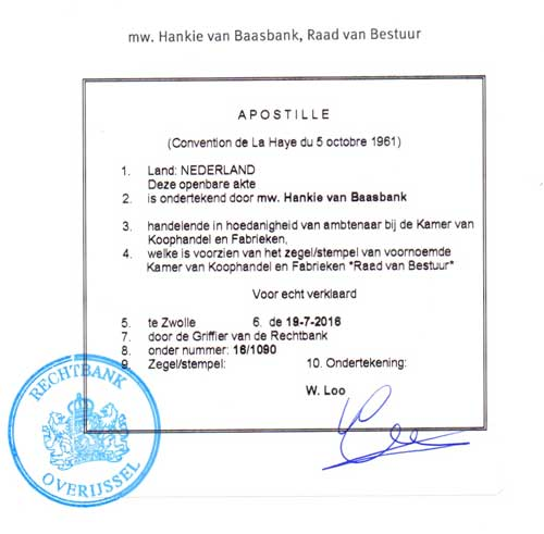 Exampel of an Apostille from the Netherlands