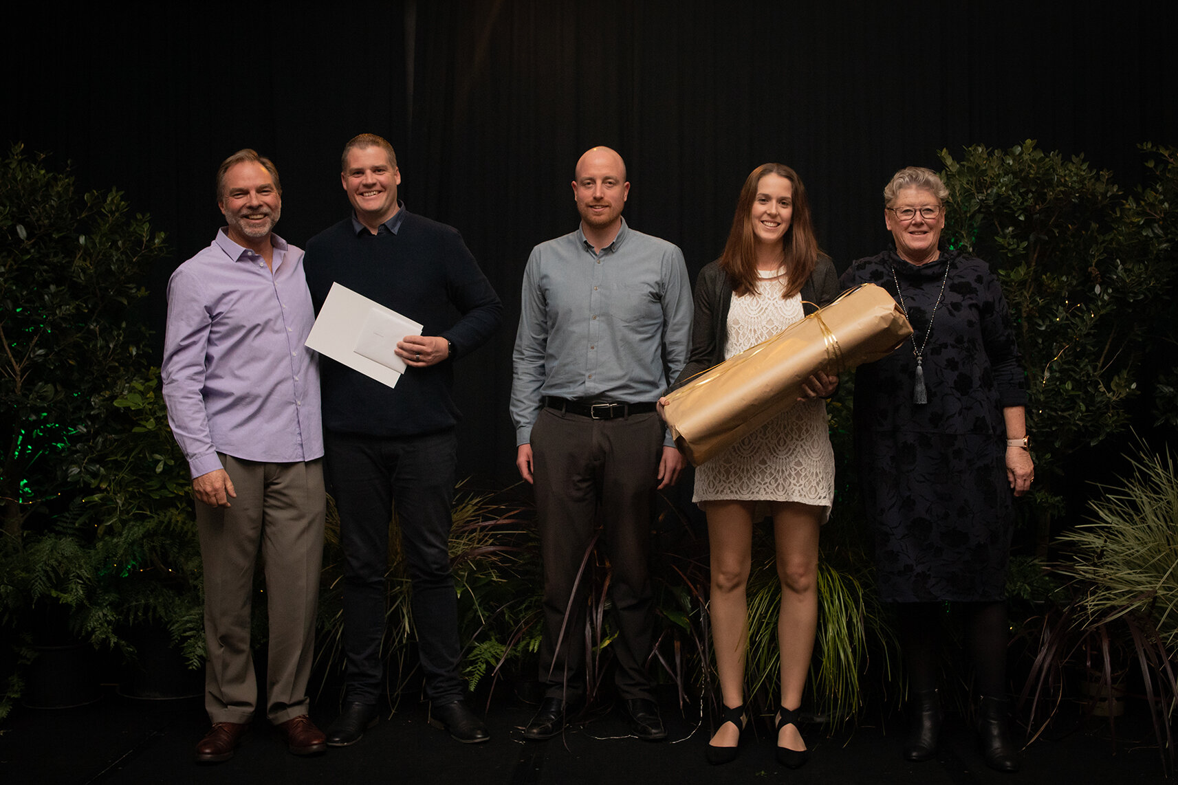 Pukekohe Cart for Outstanding Customer Service - From left to right - Director Jol Glover, Cart Owner Jono Ziesler, Goodman Feilder Rep Luke Donaldson, Cart Owner Sarah Ziesler and Director Donna Ferrall.