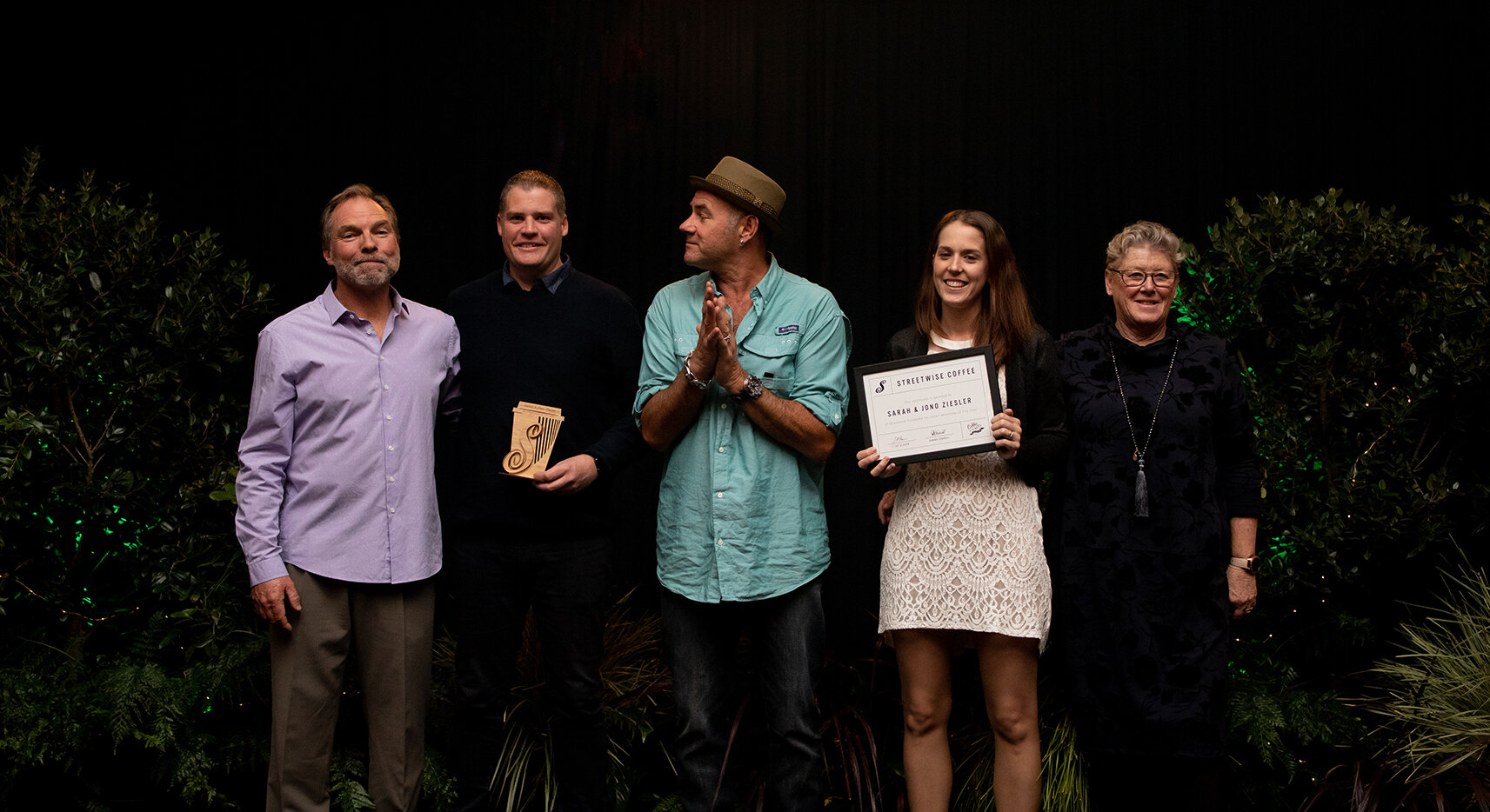 Pukekohe Cart for Streetwise Coffee Franchisee of the Year - From left to right - Director Jol Glover, Cart Owner Jono Ziesler, Havana Coffee Supplier Geoff Marsland, Cart Owner Sarah Ziesler and Director Donna Ferrall.