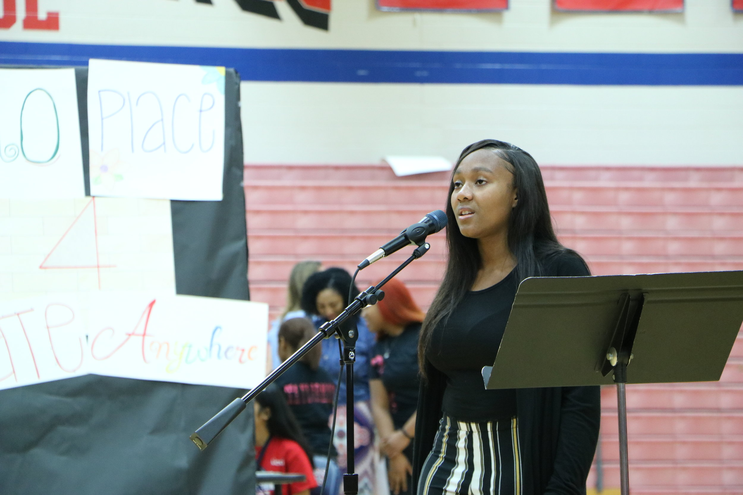 Junior Deavion Williams delivers a poem 'Brown-Sugar Queen.'(Alissay Parra)