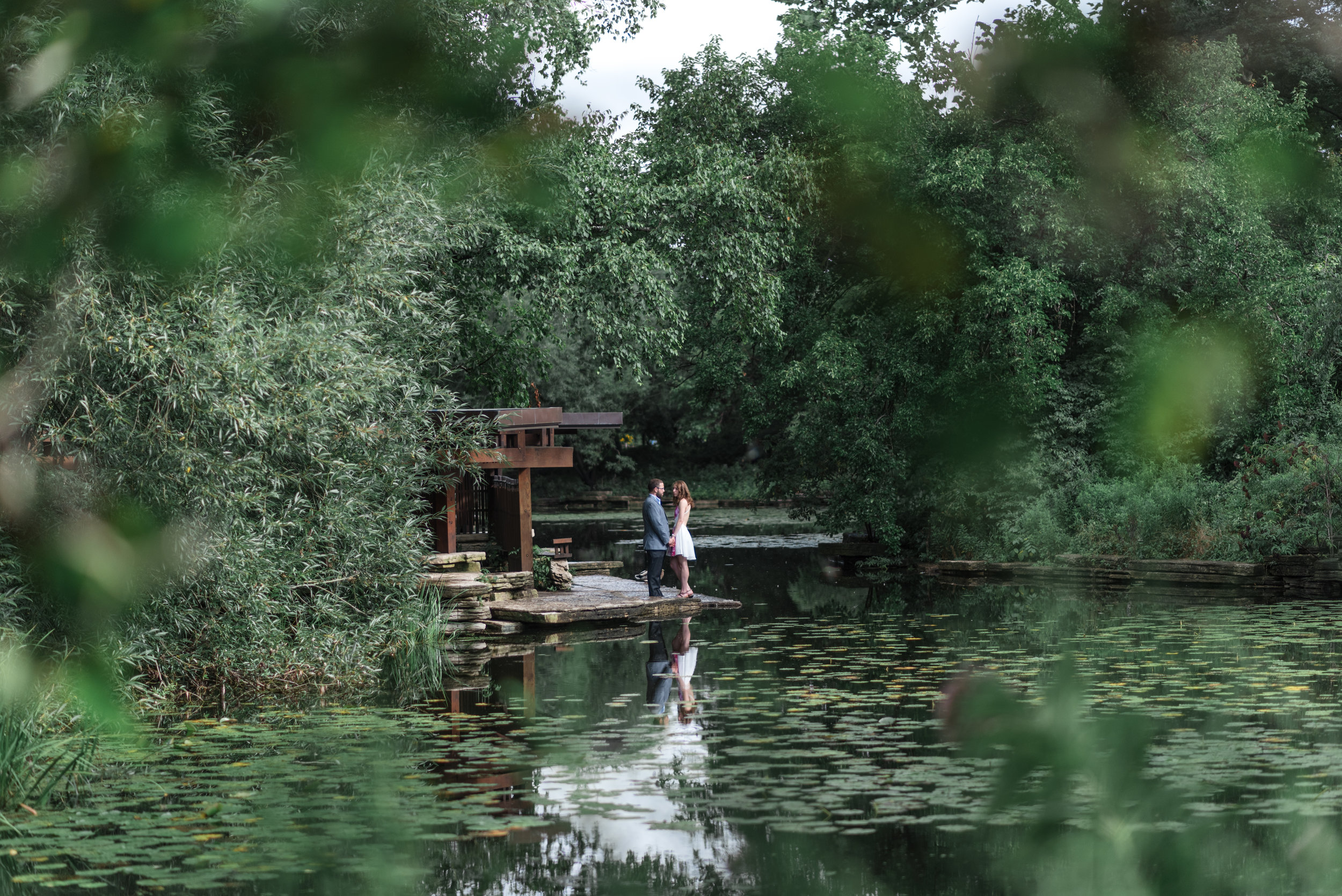 Alfred Caldwell Lilly Pond in down town chicago engagement session in the summer
