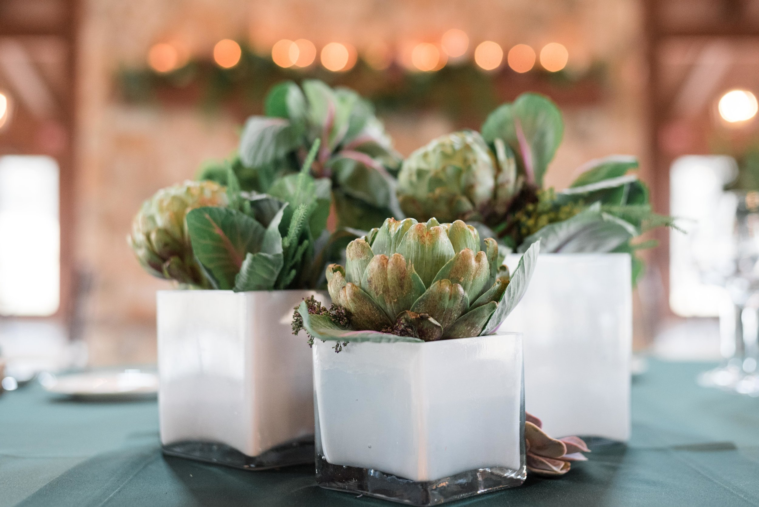 Elegant succulents on wood slabs adorn the table centerpieces at The Pavilion at Orchard Ridge Farms