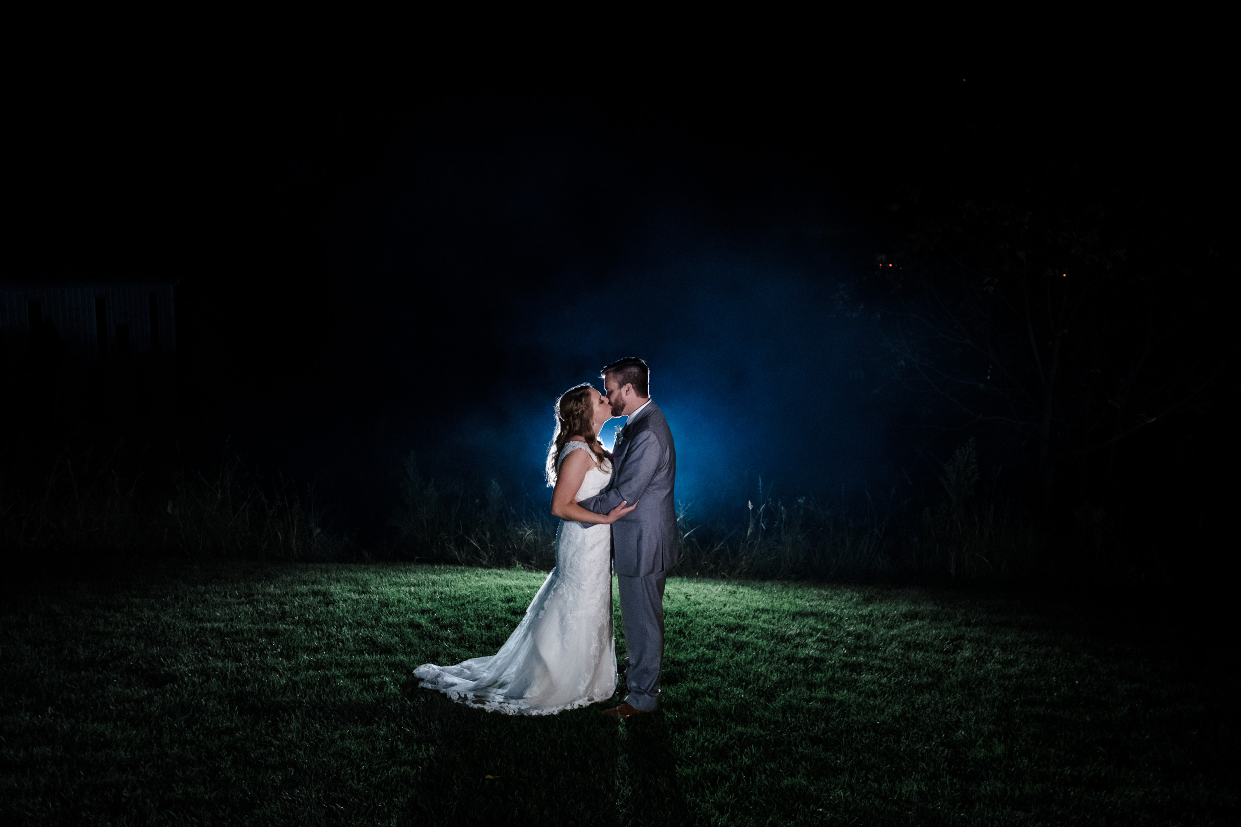 end of night photography with bride and groom