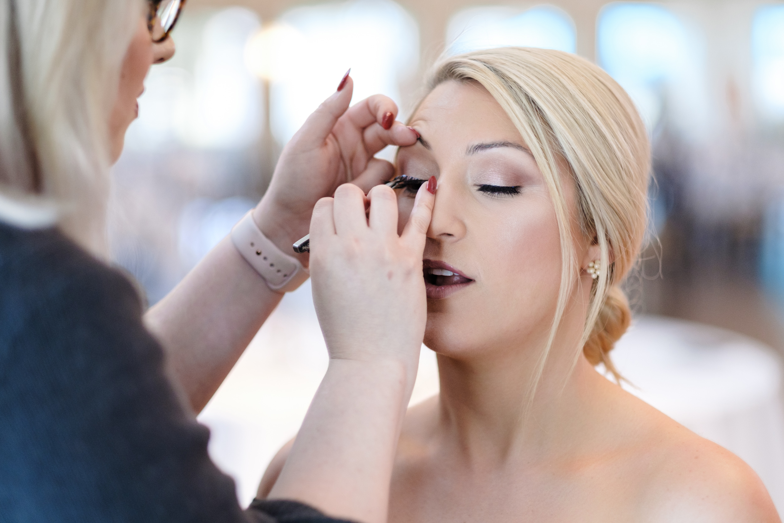 Bridal makeup at Rockford Bank and Trust Pavilion.