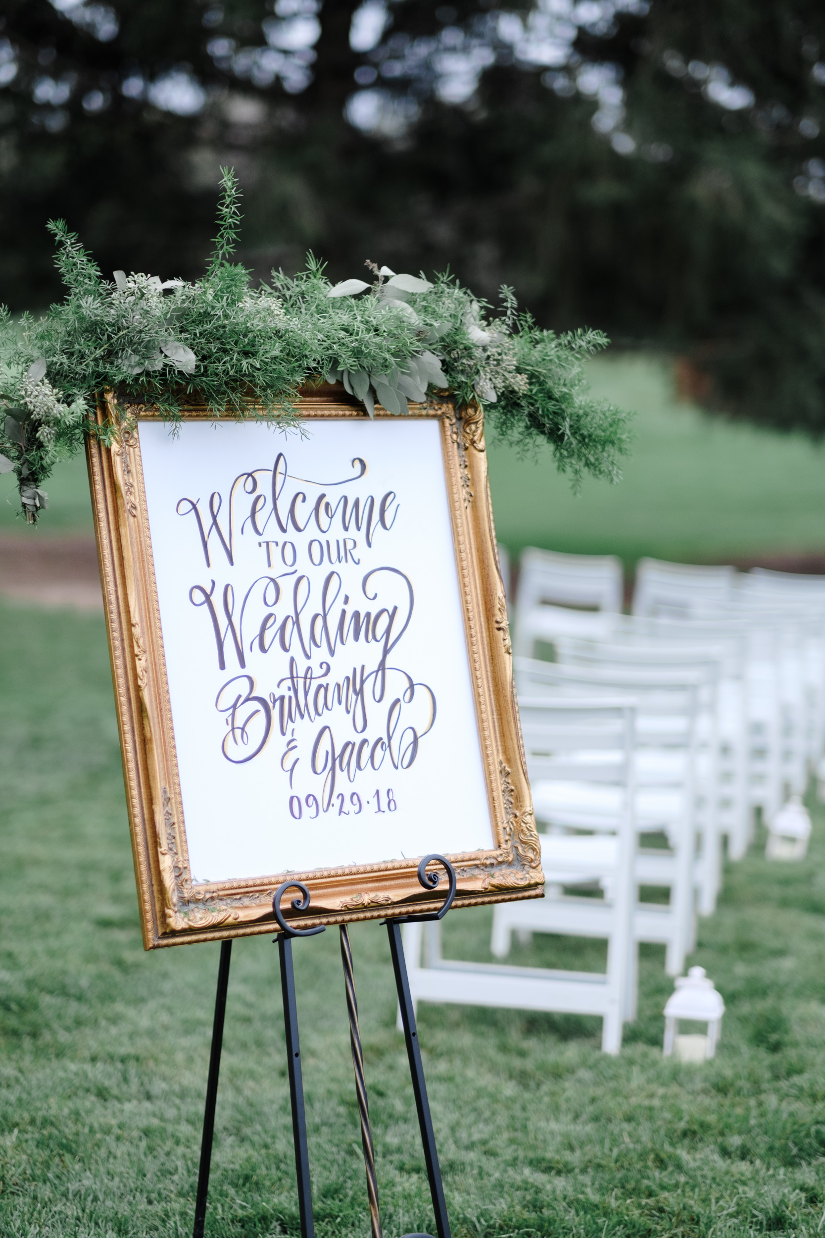 Sign for wedding at Rockford Bank and Trust Pavilion.