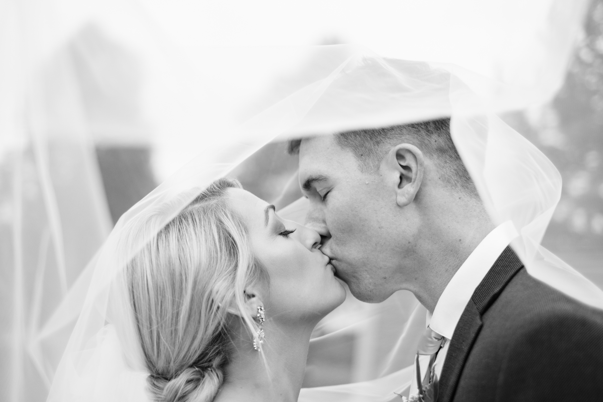 bride and groom kissing under veil at Rockford Bank and Trust Pavilion.