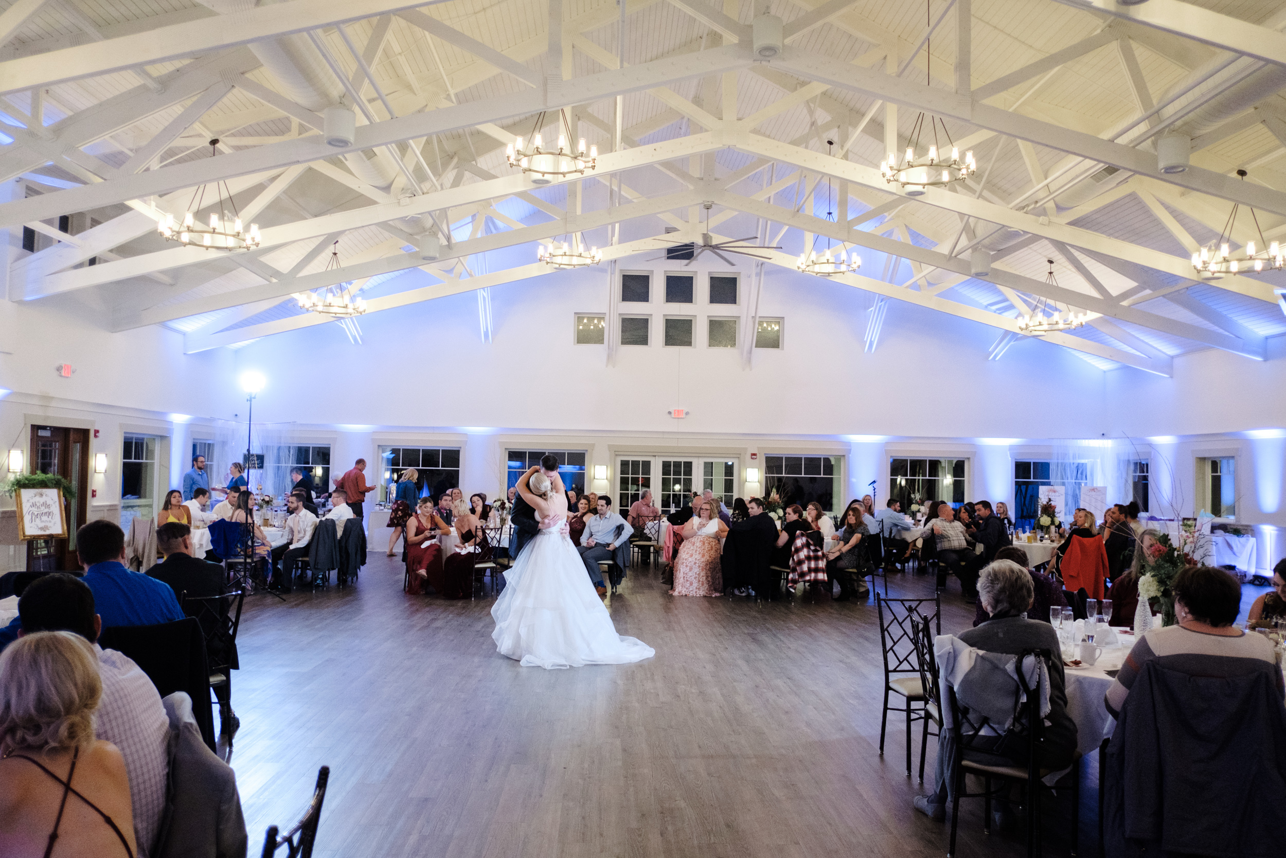 First dance at Rockford Bank and Trust Pavilion with uplighting