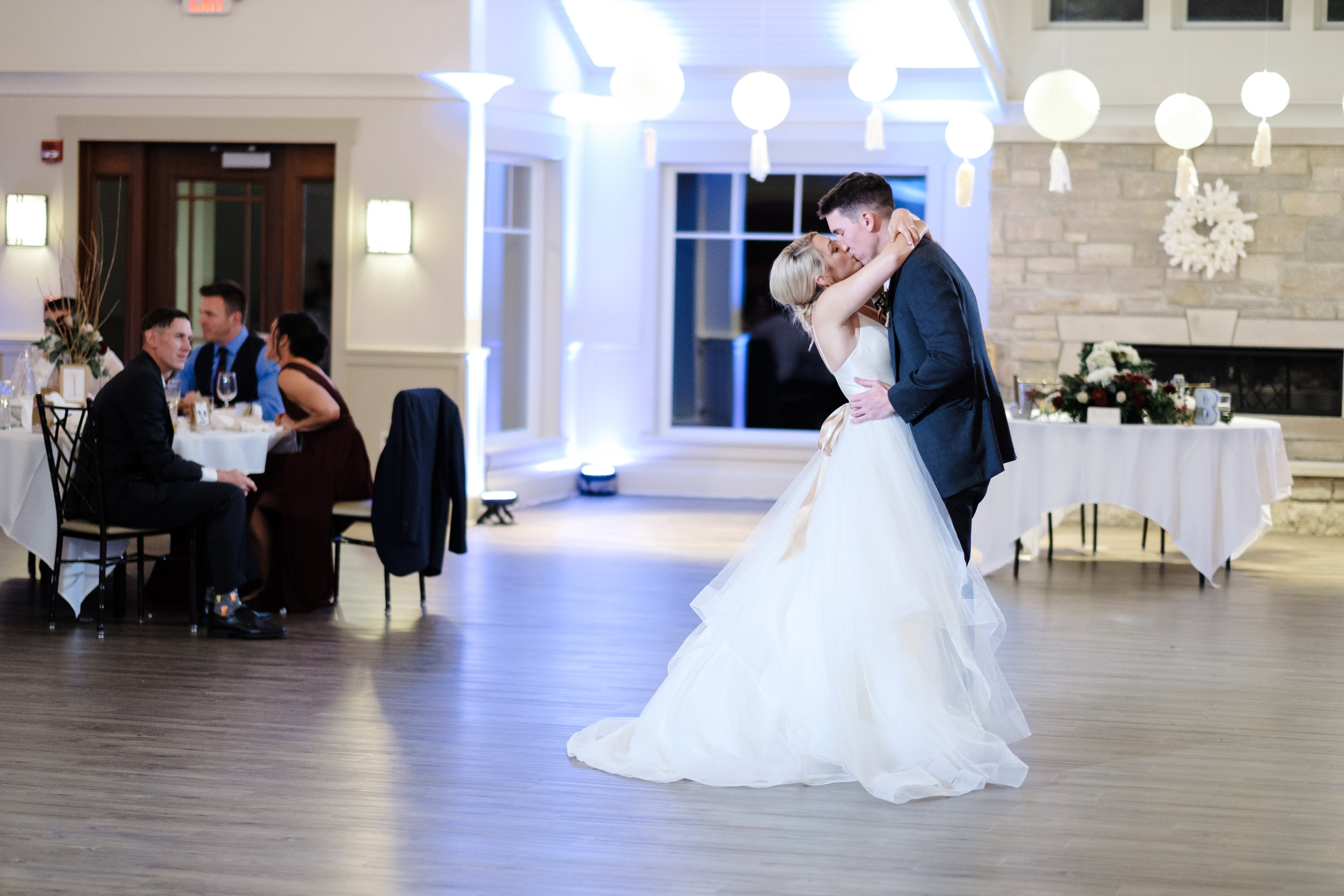 first dance between bride and groom at the Rockford Bank and Trust Pavilion