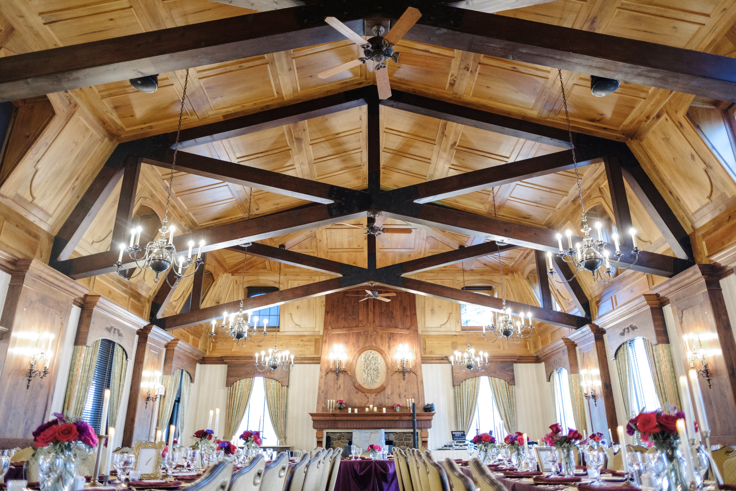 Cog Hill golf club main hall decorated for a wedding