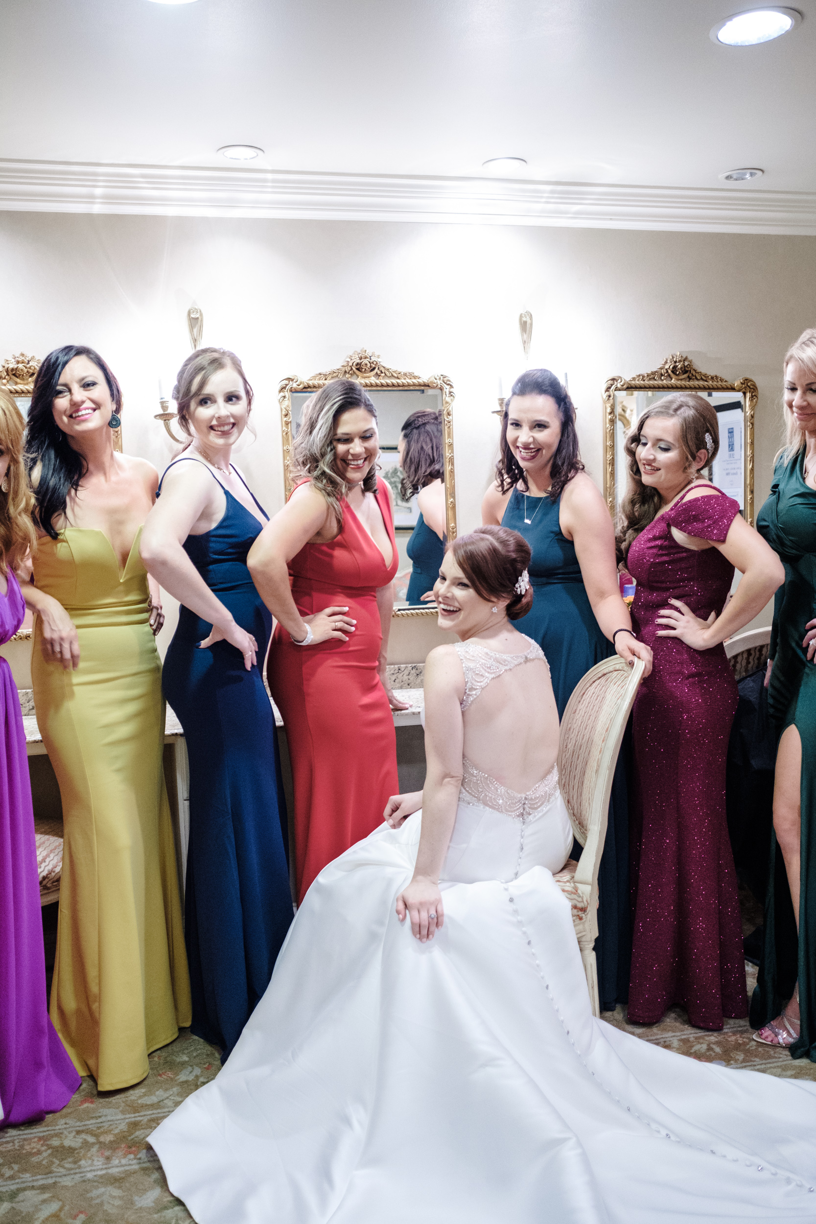 12 bridesmaids with different color dresses for cog hill wedding