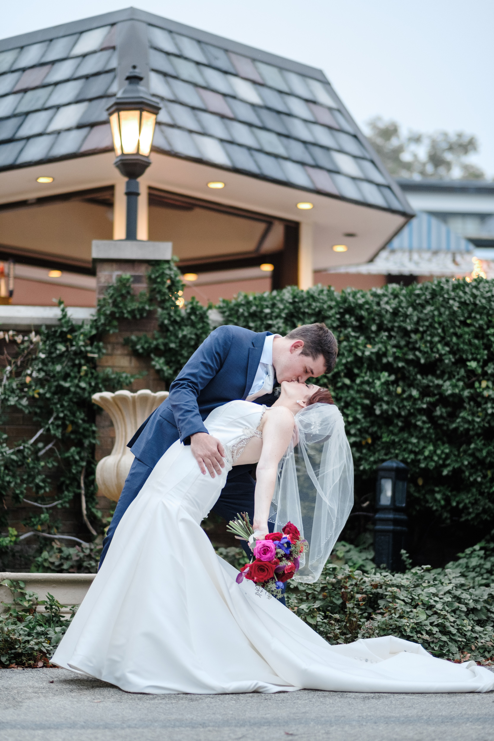 outdoor natural light photojournalistic candid portrait of bride and groom after outdoor wedding ceremony