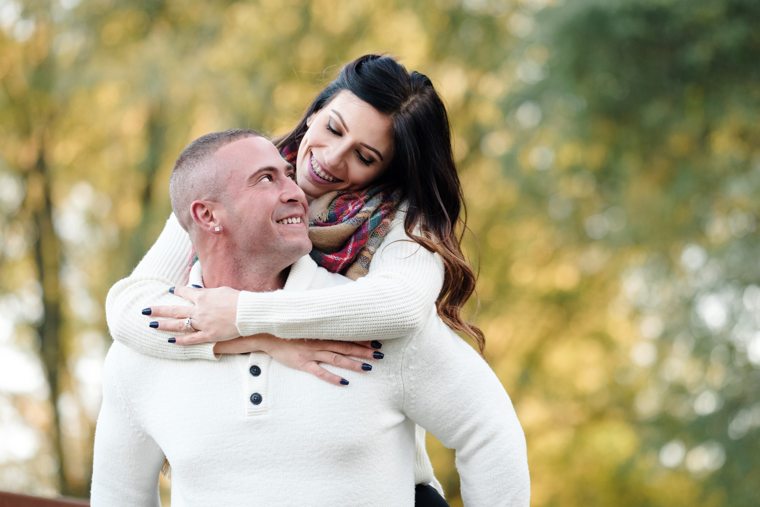 fall cozy engagement pictures outdoor sunset Loves Park, IL