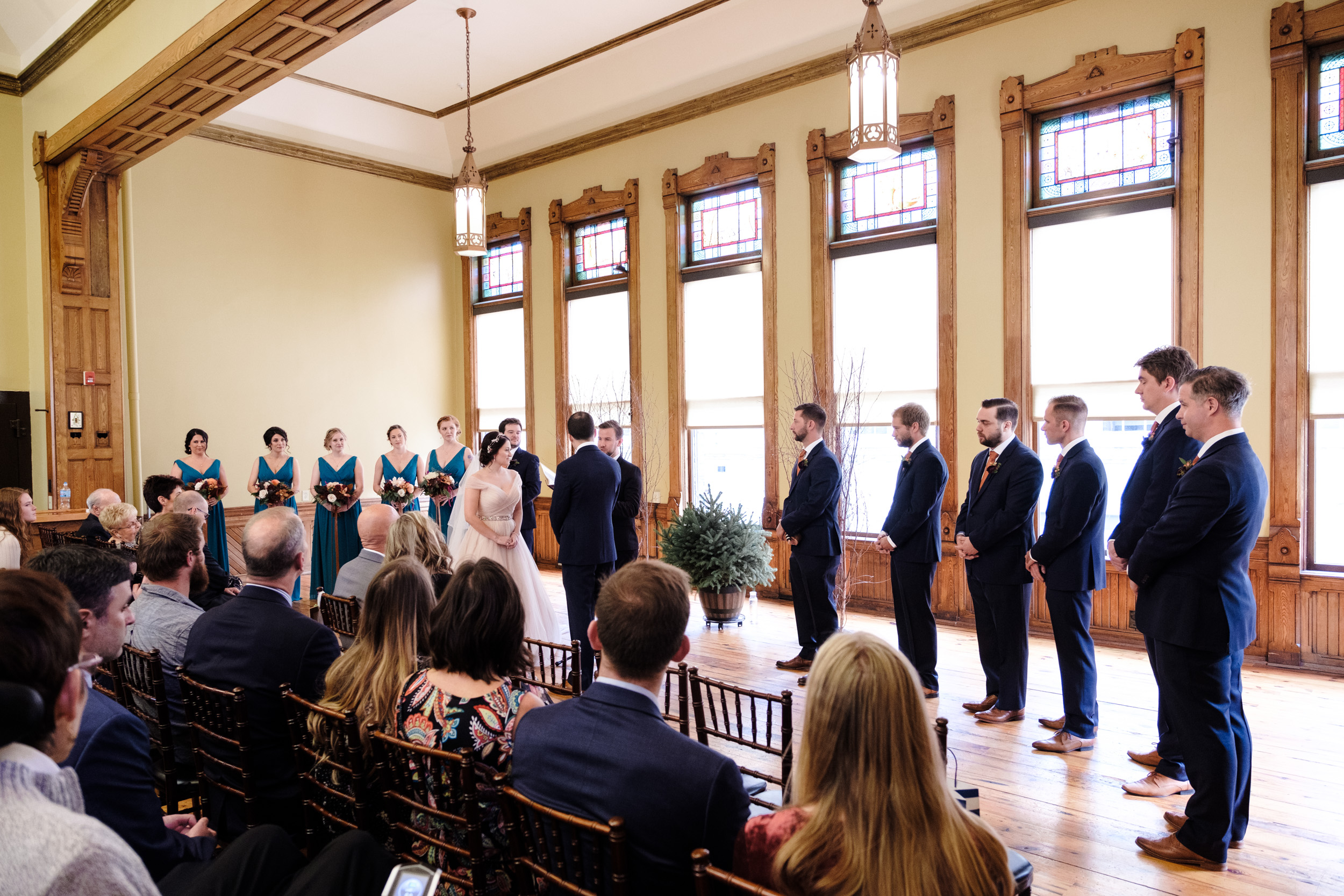 Pabst best place wedding blue suit, orange it fall wisconsin wedding in milwaukee by rockford wedding photographer