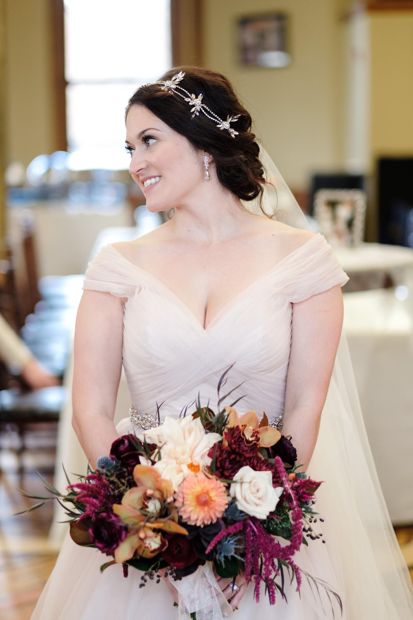 candid bridal portrait