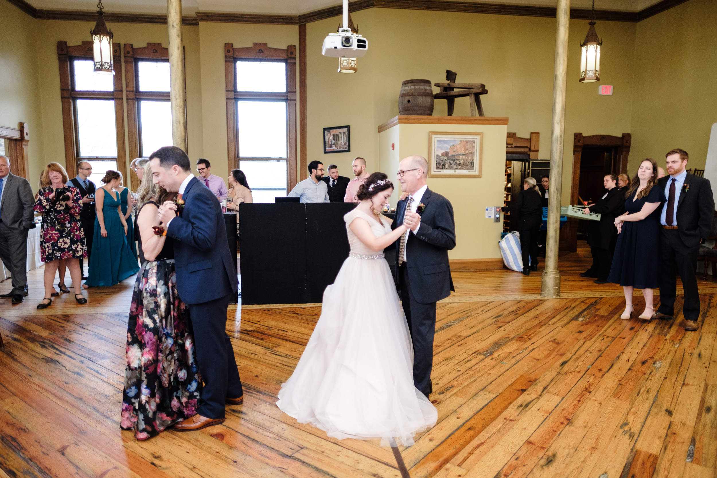First dance, bride and groom at pabst best place, milwaukee wisconsin wedding