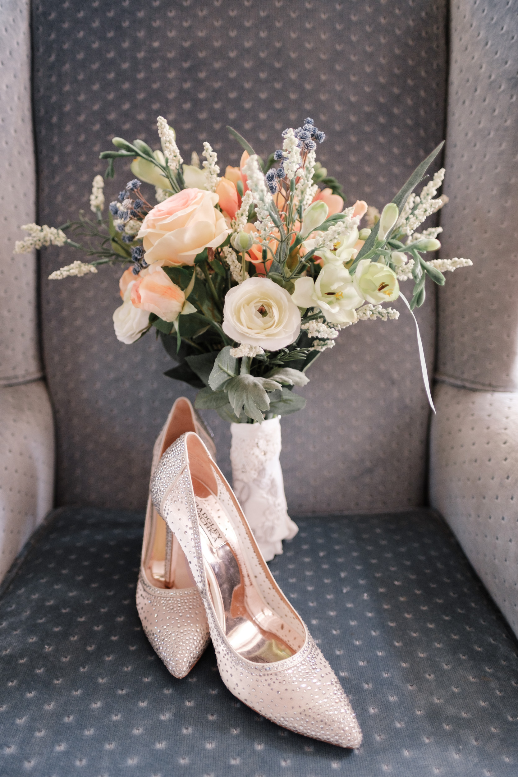 wedding day flowers and heals with special note written on bottom