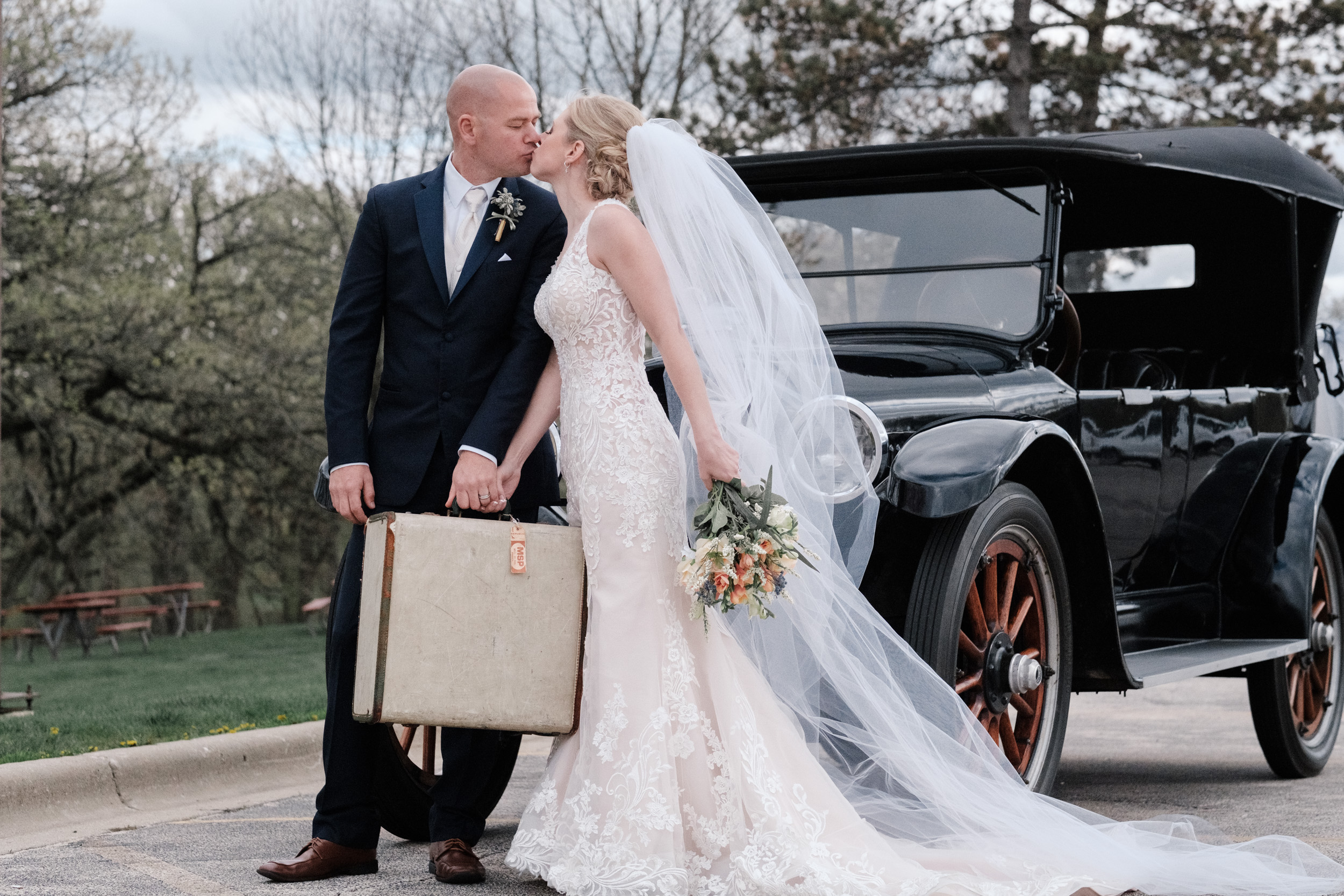 candid portrait of bride and groom on wedding day at the BRIX