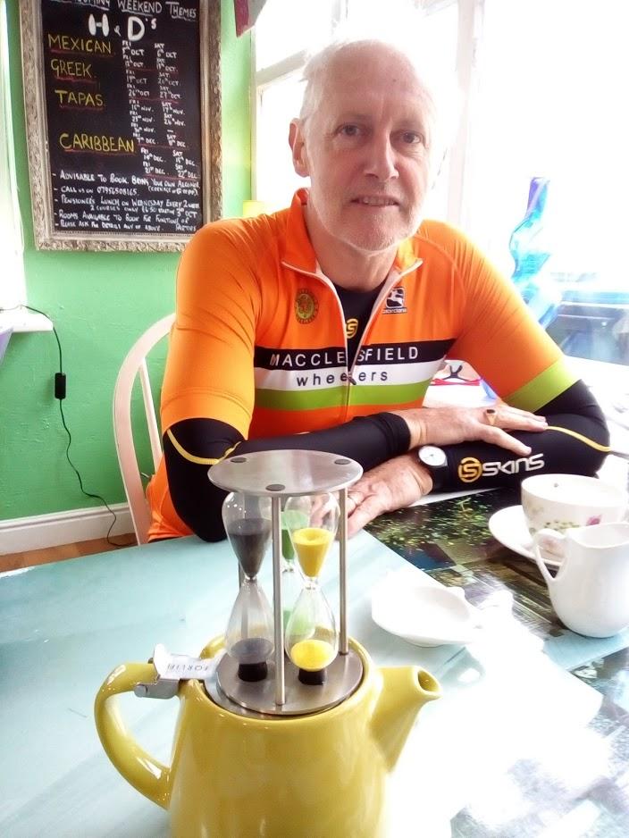 John times his tea break.
