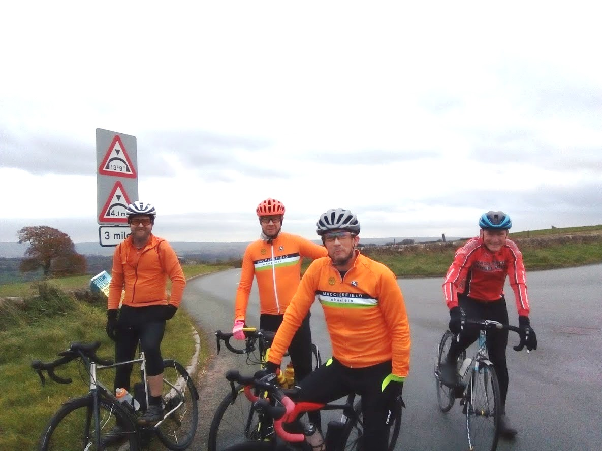 Top of Lask Edge on the way home: Paul, Mark, Russell, Dave.