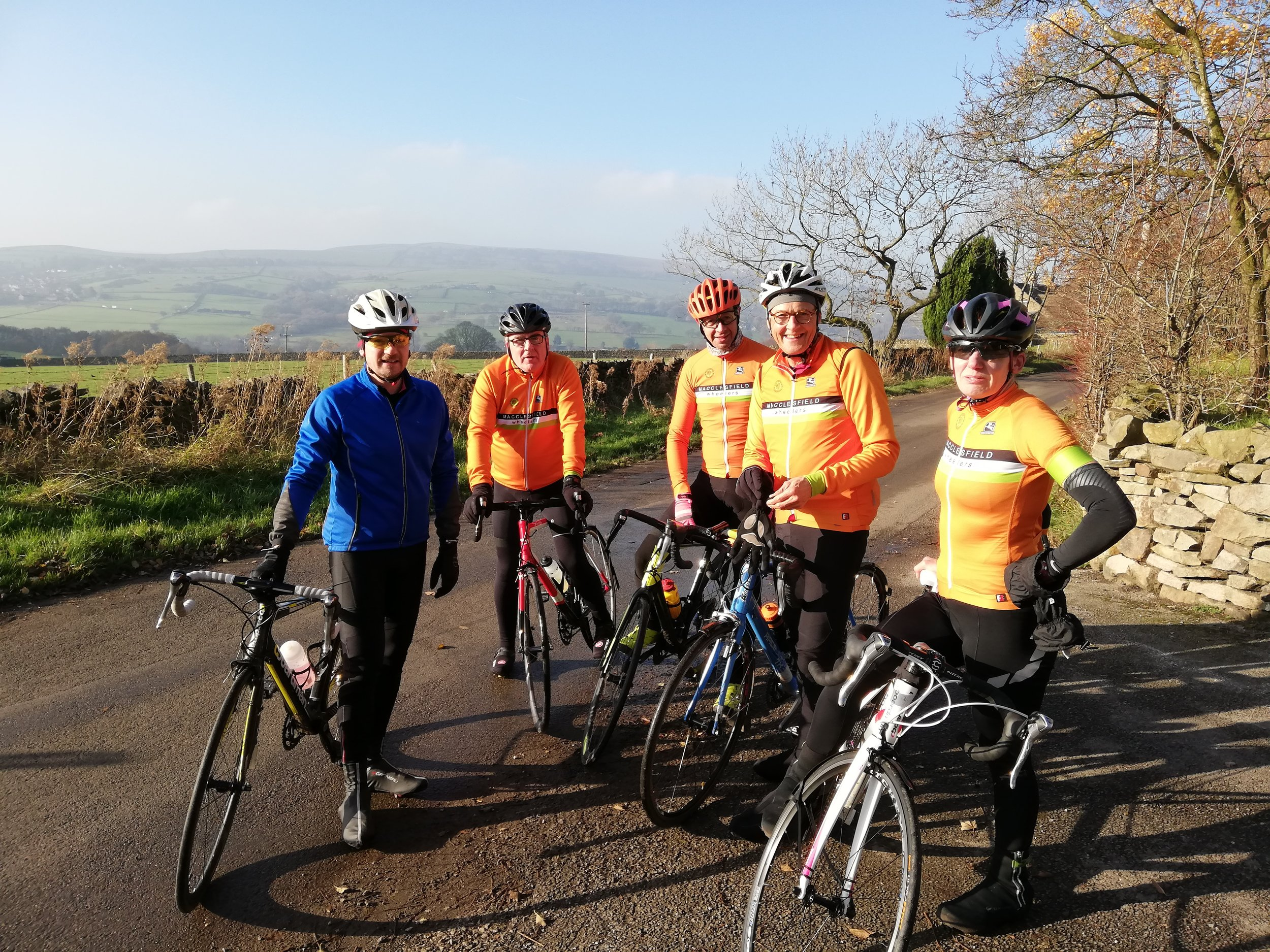 Nervous smiles just before we tackle Chinley Churn (well, three of us do but I am far to discreet to name the names).