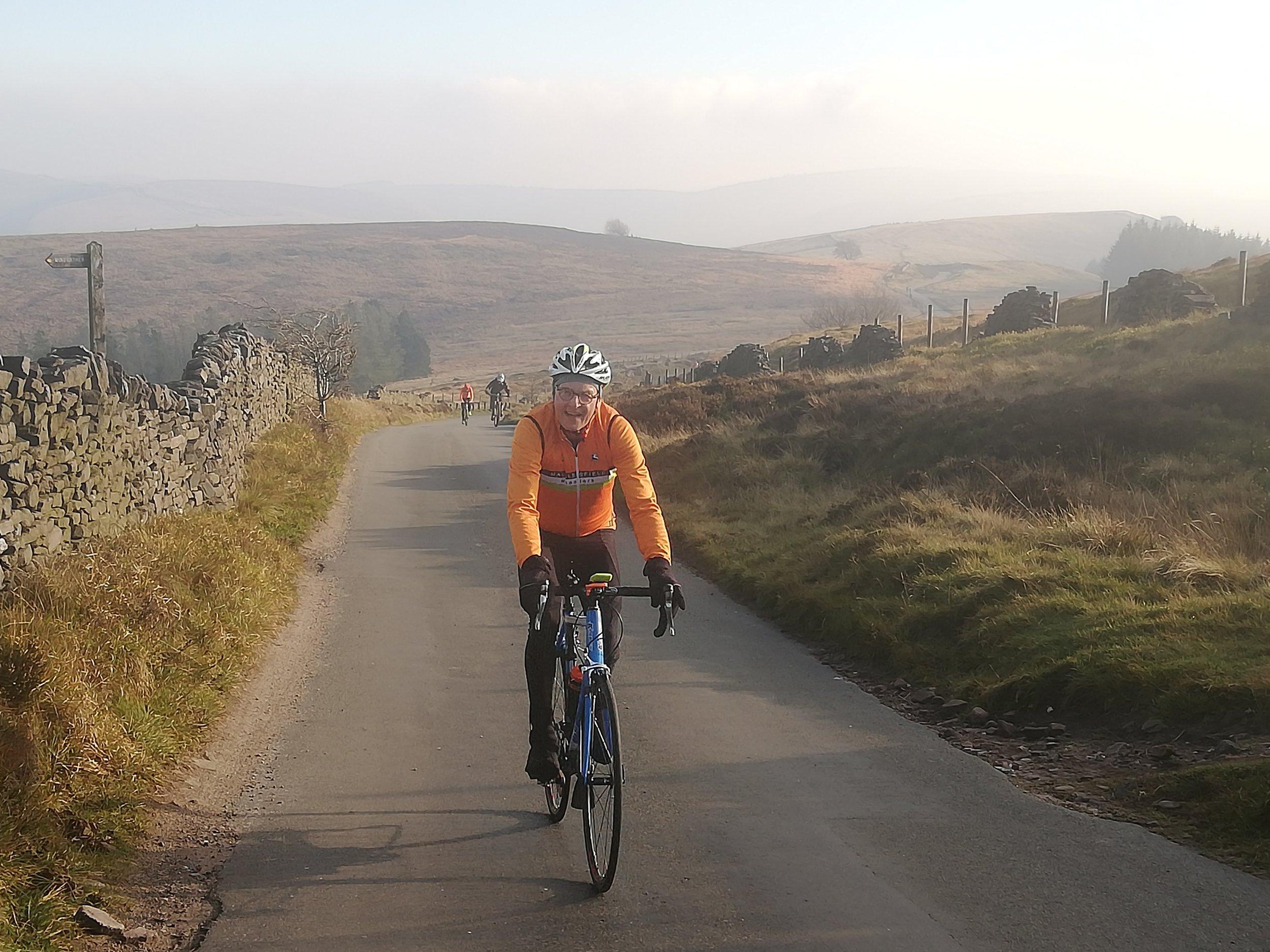 Ride Leader smug that he has overtaken a Mountain Biker on The Street.