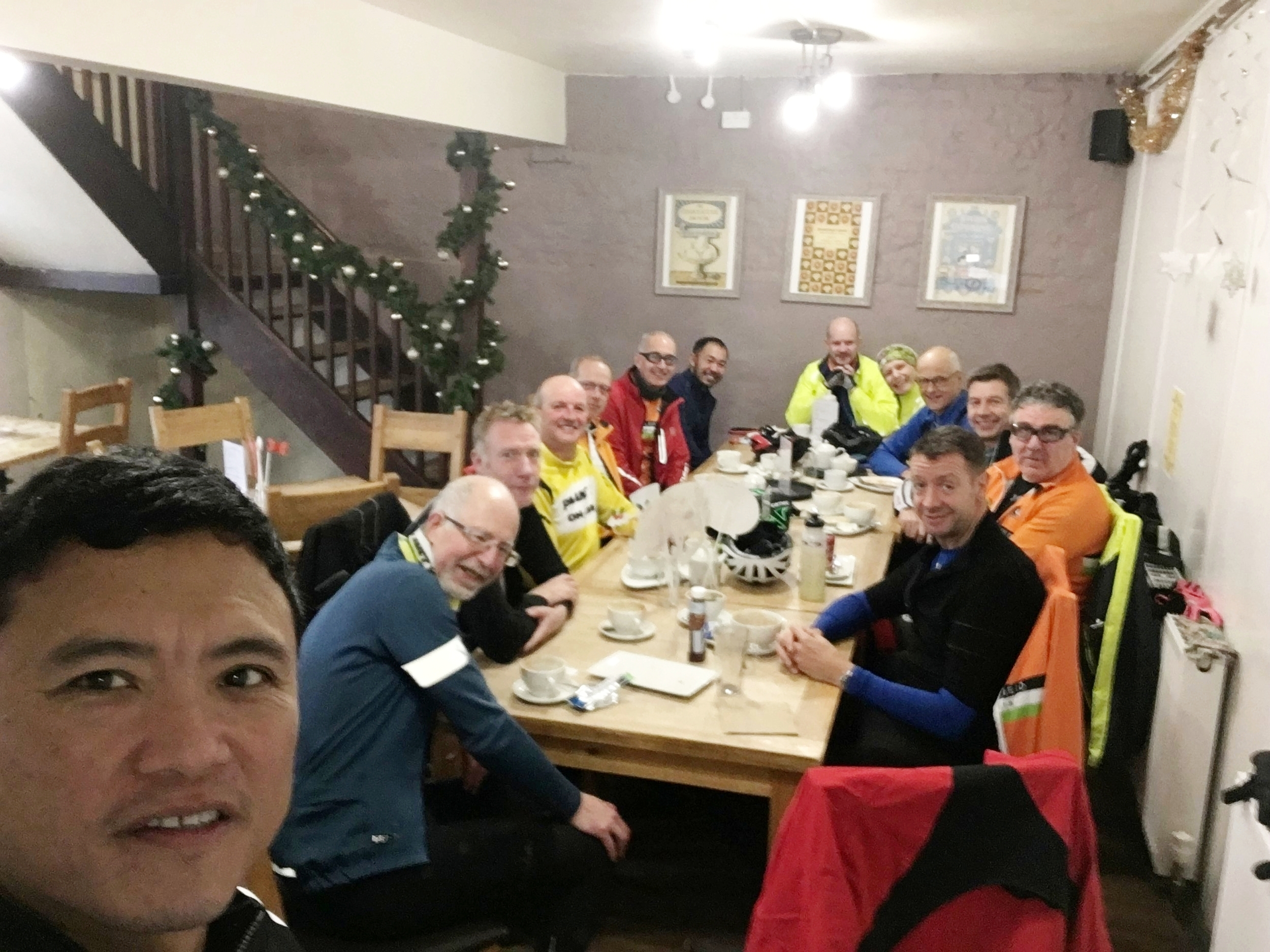 Clockwise from front: Mike. David, Carl, Phil, welcome to Jochen out for the first time with us and who must have enjoyed it as he joined the club within hours of getting home, Steve, welcome back Benet, Simon, Janet, me, welcome to the Lark Ride Richard, Andrew and Mark.