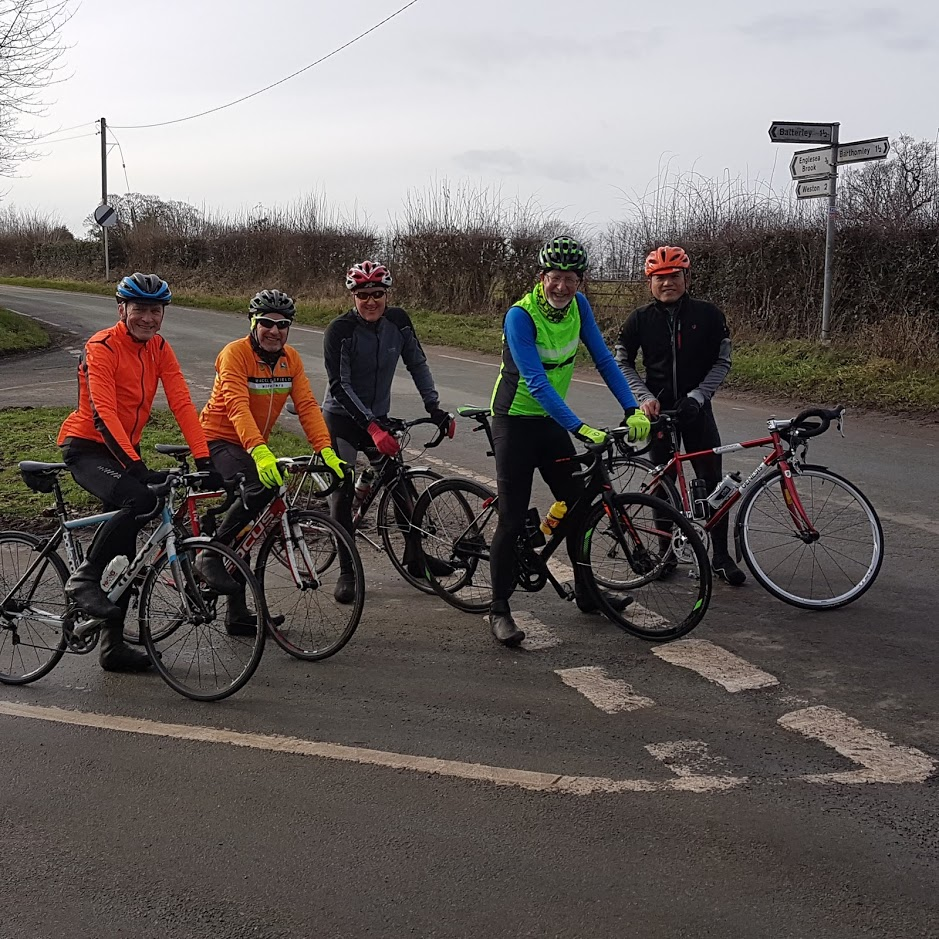 Dave, Pete, Mike, Dave, Mike. Off pic: Dave, ' that's enough Daves!' - Ed,  and welcome to the Wheelers to Amanda .
